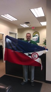 Randy with city flag