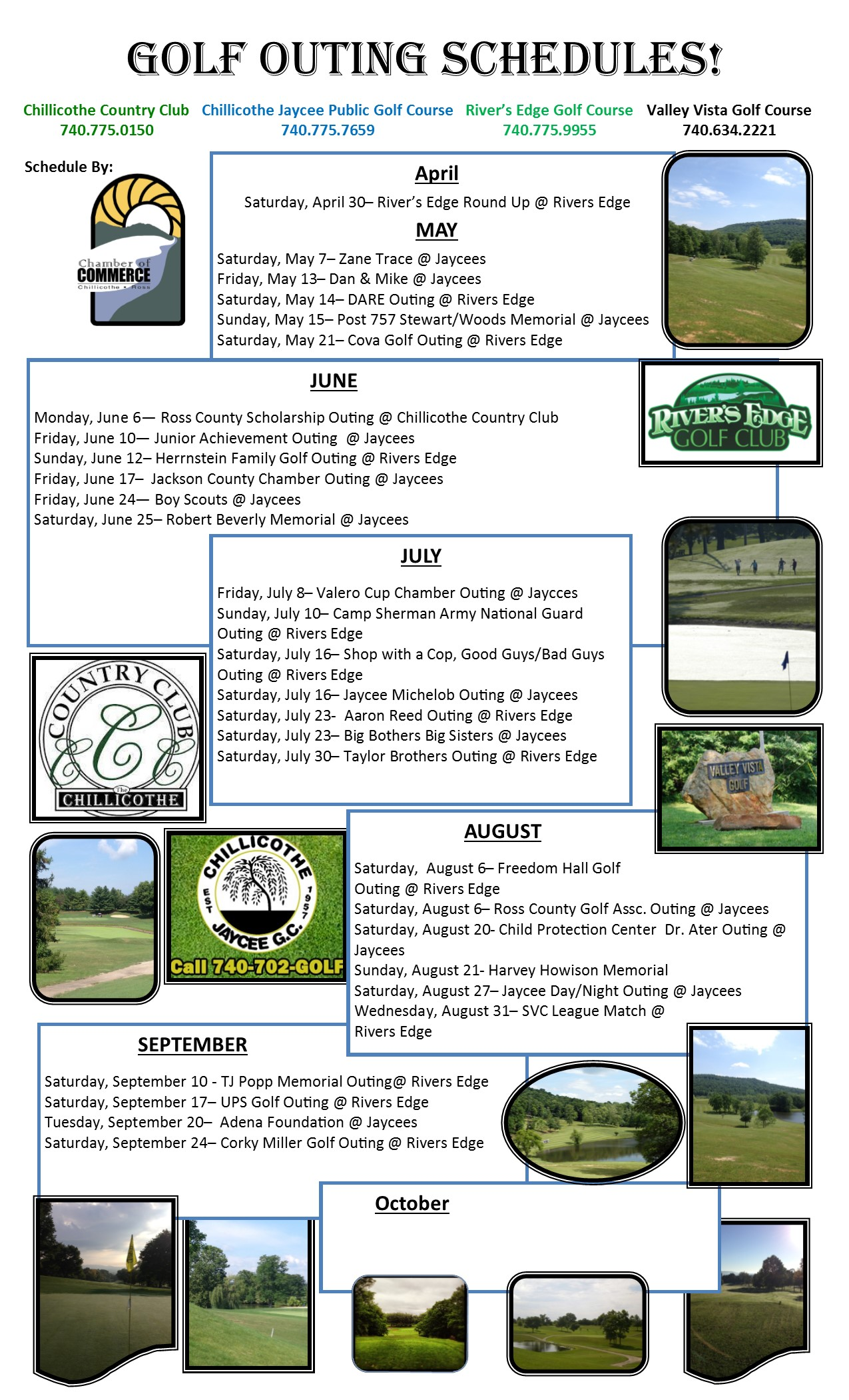 2016 Community Outing Schedule